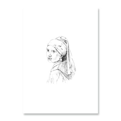 POSTKARTE Inkylines Mädchen mit Ohrring